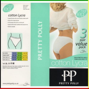 Classic - High leg: Pretty Polly - Cotton Lycra - wit - 3 stuks
