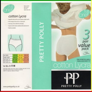 Classic - Full brief: Pretty Polly - Cotton Lycra - wit - 3 stuks